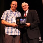 Chris Whittaker is presented the Shifting Minds Award by John Kershaw
